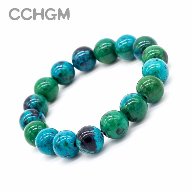 2017 fen Natural Chrysocolla Malachite stone beads bracelets for women round bea