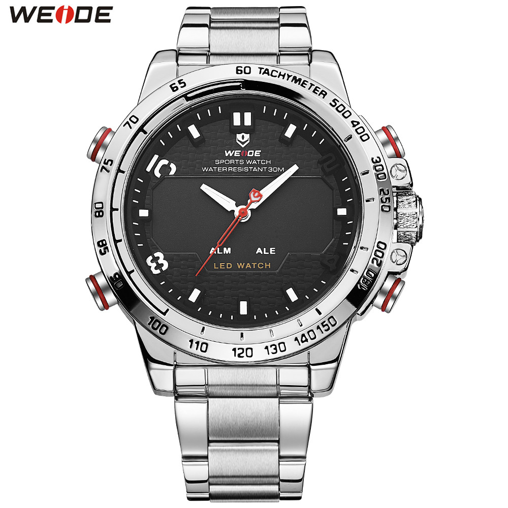 2018 Top Sale WEIDE Man Fashion Sports Watches Men LED Digital Quartz Watch Steel Band Mens Analog Dress Wristwatch Montre Homme mens stainless steel band watch with big round dial male analog quartz metal sports wristwatch relogio masculino montre homme