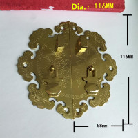 Brass Flower Pattern Drawer Cabinet Desk Box Door Pull Handle Knob Furniture Hardware,Yellow Color,116mm Dia.,1PC