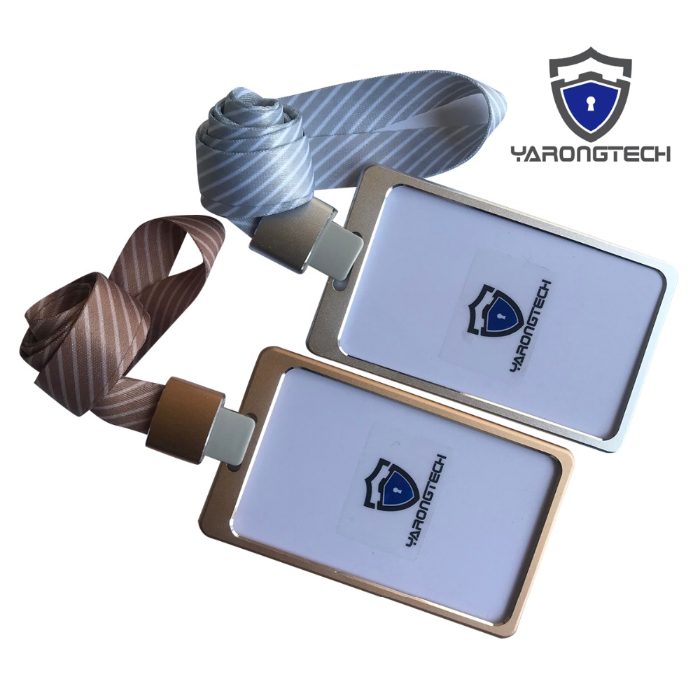 Aluminium Alloy Office Worker ID Badge Holder with Detachable stripe Lanyard/Strap nahoo hospital nurse name badge tag holder leather badge holder credit id reel card holder neck bus cards case office supplies