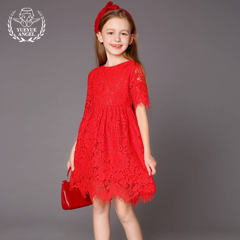 2018 Summer Sweet Floral Dresses Mesh Red Princess Ruched Lace Elegant Ruched White Girl Dress Embroidery Evening Party Vestido