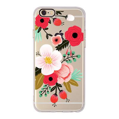 Чехол силиконовый с индивидуальным дизайном «Пионы» для iPhone
