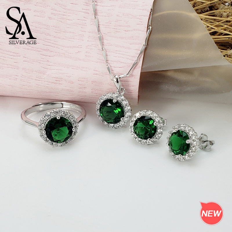SA SILVERAGE 925 Sterling Silver Green Red Crystal Round Pendant Necklaces Stud Earrings Wedding Rings Jewelry