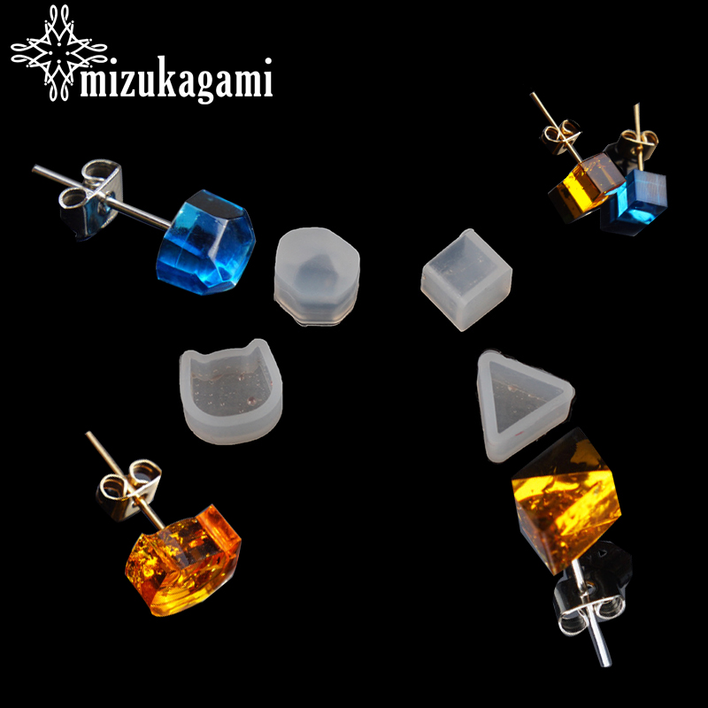 UV Resin Jewelry Liquid Silicone Mold Small Geometry Shape Beads Stud Earrings Mold Resin Molds For DIY Earrings Making Jewelry