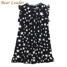 Bear Leader Girls Dress 2017 New Summer White Five-Pointed Star Black Children Dresses Hot Sell Kids O-Neck Petal Sleeve Clothes