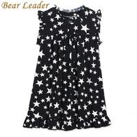 Bear Leader Girls Dress 2017 New Summer White Five-Pointed Star Black Children Dresses Hot Sell Kids O-Neck Petal Sleeve Clothes