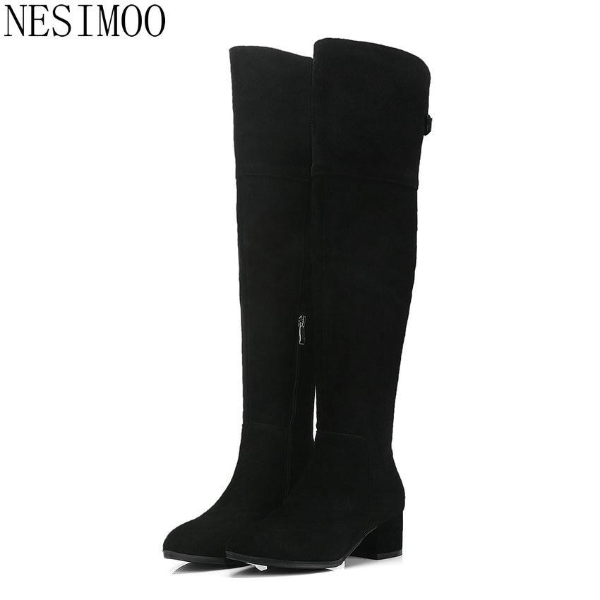 Bottes Chaussures Pointu Taille Suède 2019 Éclair D'hiver 34 Noir Vache Sur Mode 39 Haut Bout Fermeture Nesimoo Genou Femmes Le qpnEAwwFB4