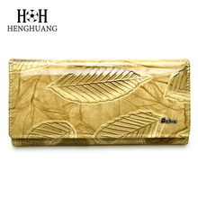 2018 Women Wallet Genuine Leather Long Ladies Purse Cowhide Leather Large Capacity HH Leaves Patterns Womens Wallets and Purses