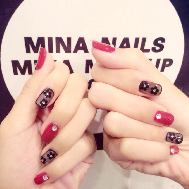 Magazine style black and red hit pure color with little flower false ...