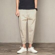 Men S Trousers Ankle -Length Linen Cotton Pant Mens Harem Joggers Casual Sweatpants Pants For Male