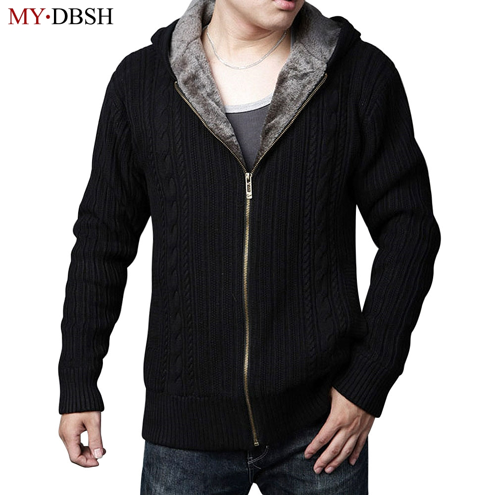 2017 New Style Men Winter Cardigans Sweater Thick Velvet Hooded ...