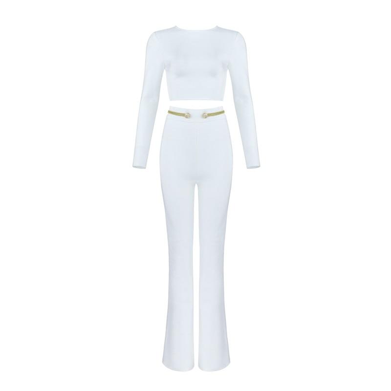 Blanc Costume De Femmes White Bouton Celebrity Parti Luxe 2 Pièces Vêtements Hiver Définit Bandage TrtdwqgTx