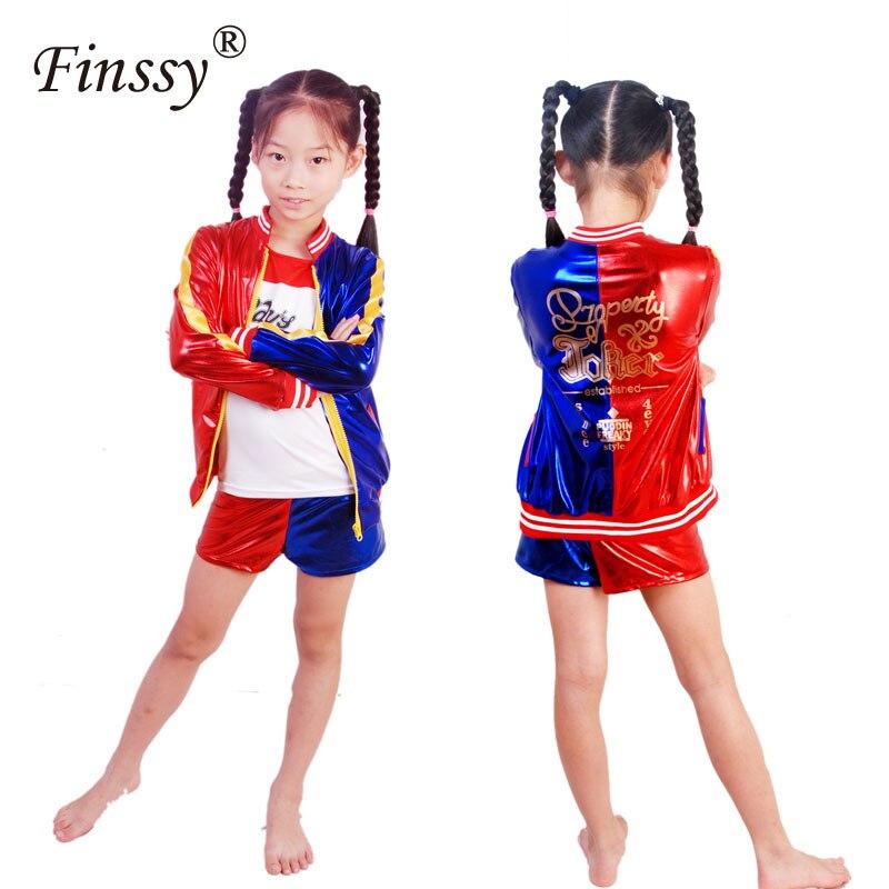 Película Suicide Squad Harley Quinn Cosplay traje para niños niñas Halloween carnaval Harley Quinn chaqueta ropa interior camiseta