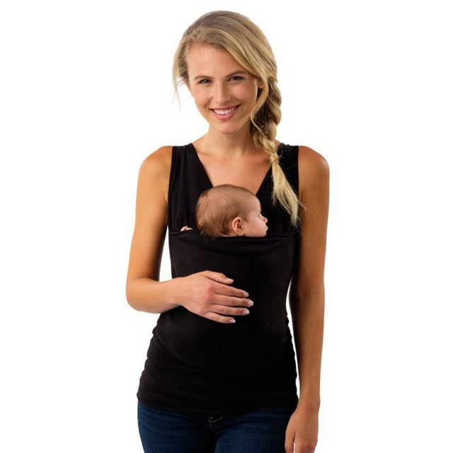Us 8 65 2018 Summer Kangaroo Baby Carrier Clothes For Mother Sleeveless Big Pockets Tank Top Femme Multi Function Tops Plus Size M 3xl In Tank Tops