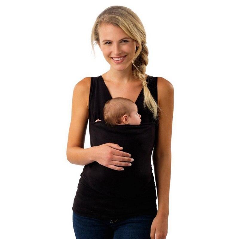 2018 verano Bebé Canguro portador ropa para madre sin mangas grandes bolsillos Tank Top mujer Multi-función más tamaño m-3XL