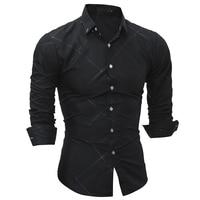 2018 Fashion Brand Shirt Summer Lattice Men Slim Fit Shirt Long Sleeve Casual Social Male Shirt