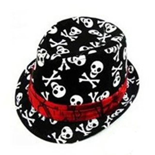 Enfants Bébé Garçons Filles Cap Fedora Chapeau-Noir avec Motif de Crâne