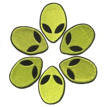 Free Shipping 1PC Alien Head Patch Embroidered Iron on Patches For Clothes Fabric Sticker DIY Accessory Badge Applique