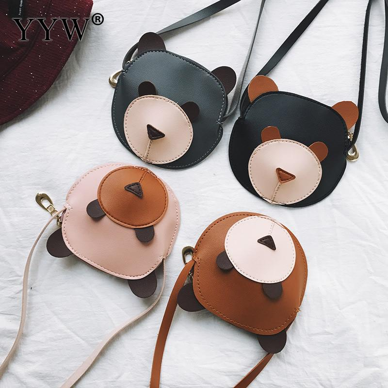 Cute Mini Girl Crossbody Shoulder Messager Bag Pu Leather Bear Pattern Phone Bags Animal Children Street Bolsos Mujer 2018 New