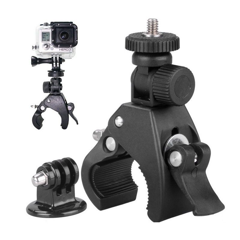 for GoPro mounting accessories motorcycle bike handlebar + camera tripod adapter for Go Pro Hero 6 5 4 3 Go Pro sj4000