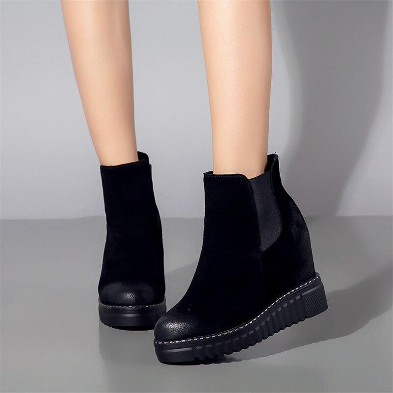 ff727cbd3dfa Mode Plates Noir Bottes Compensées Chaussures Marque Conasco Martin formes  Base Femme Courtes Bottines Femmes Talons ...