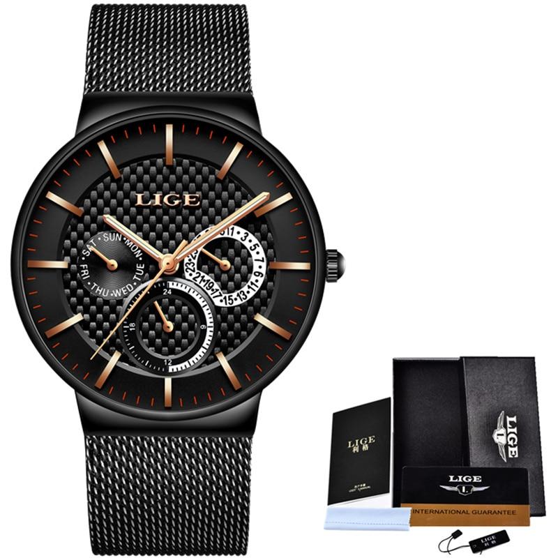 Relogio Masculino LIGE Fashion Mens Watches Top Brand Luxury Quartz Watch Men Casual Slim Mesh Steel Date Waterproof Sport Watch 5