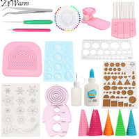 KiWarm 19Pcs Paper Quilling Tools Kit Paper Rolling Template Tweezer Pins Slotted Tools Handmade Paper Crafts
