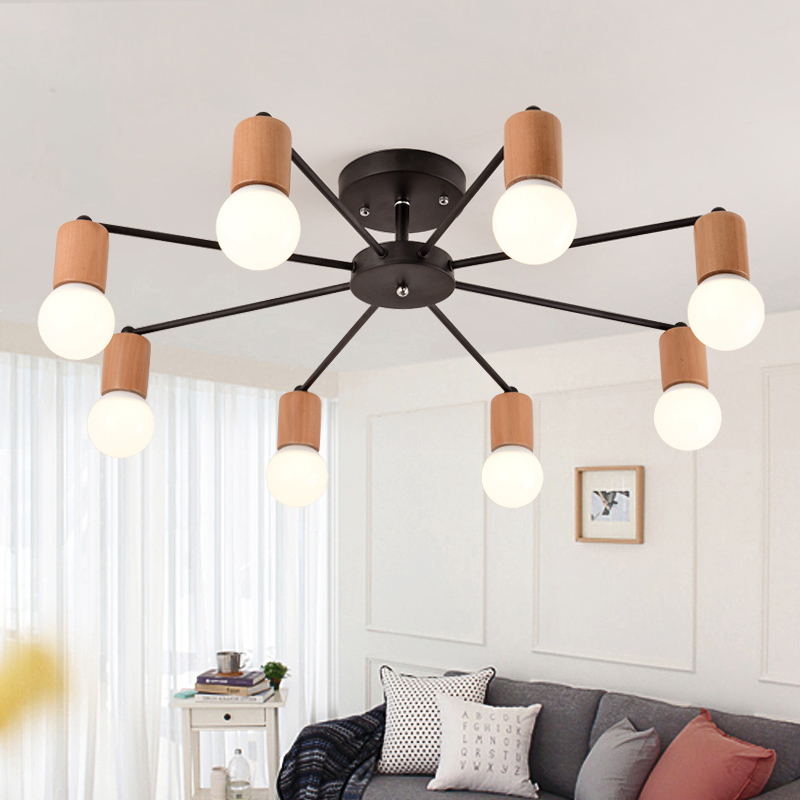 wrohght iron Nordic style simple modern led ceiling lamp living room bed room lamp home decoration