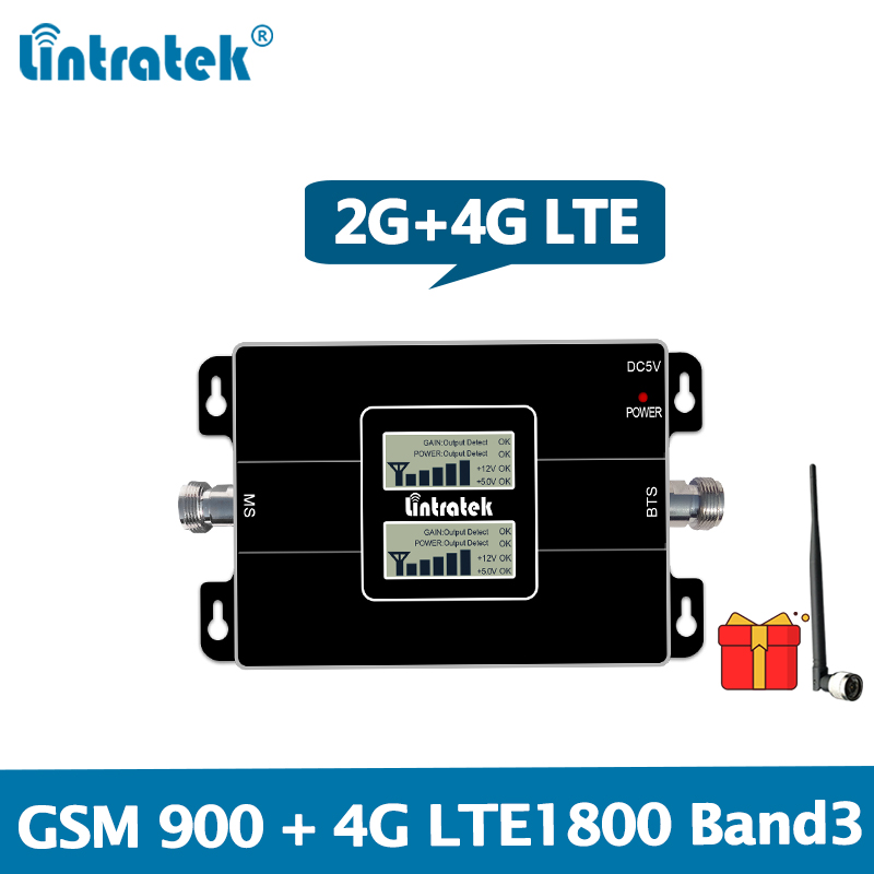 Lintratek 4G LTE 1800 Signal Repeater GSM 900 Mobile Phone Booster 2G 4G 65dB Dual Band