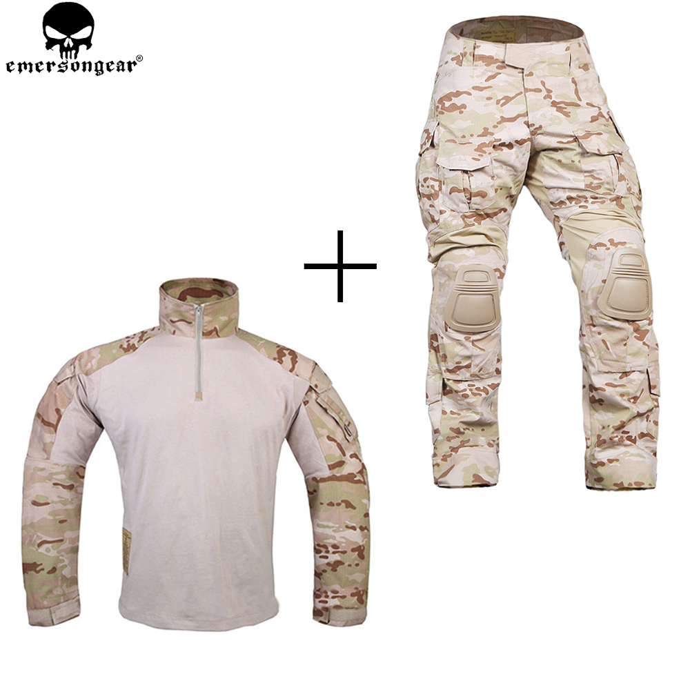 EMERSONGEAR Combat Suit Multicam Shirt Tactical Pants with Knee Pads Military emerson Hunting Accessories mgeg militar tactical cargo pants men combat swat trainning ghillie pants multicam army rapid assault pants with knee pads