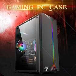 LEORY Gaming Pc Case Acryl Transparante Zijpanelen Elektrische Contest Gaming met RGB Riem ondersteuning USB3.0 4 Koelventilator