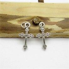 100PCS 21 11mm Antique Silver Cross Charm alloy pendant fit European Bracelets Necklace DIY Metal Jewelry