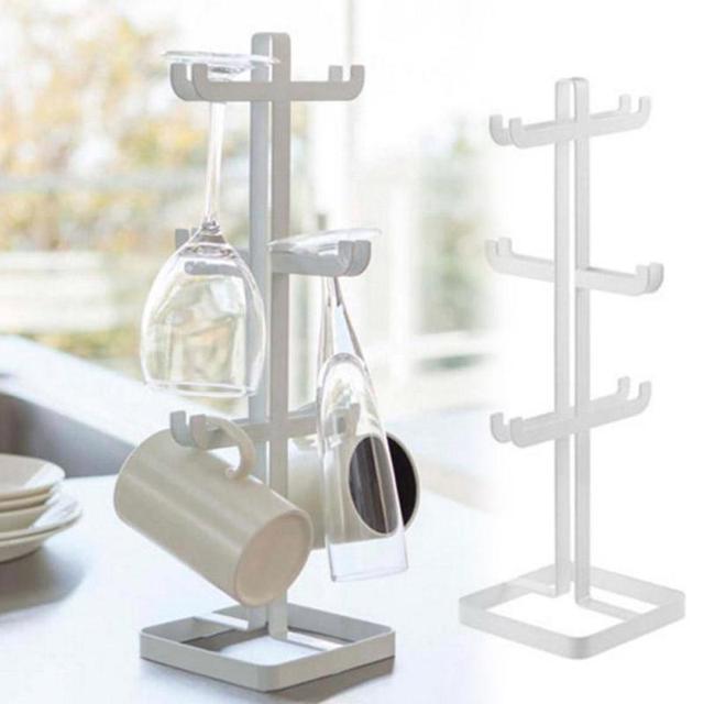 Kitchen Bar Cups Storage Bracket Desktop Stand Cup Mugs Holder Metal Coffee Mug Wine Glass Tree