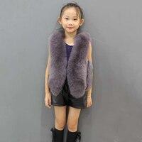 JKP 2018 winter baby girls fur vest children fox fur vest family fitted real fox fur vest girls and boy coat Outerwear ZPC 159
