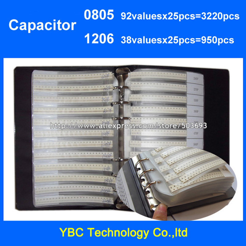 Free Shipping 0805 SMD Capacitor 92valuesX25pcs 3220pcs 1206 38valuesX25pcs 950pcs Sample Book