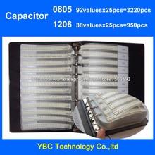 Freies Verschiffen 0805 SMD Kondensator 92valuesX25pcs = 3220 stücke + 1206 38valuesX25pcs = 950 stücke Musterbuch