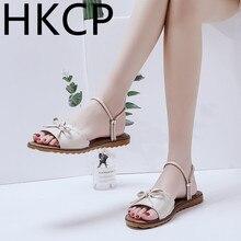 HKCP Fashion Sandals summer 2019 new Korean version bow two wear beach sandals tonsen style retro school shoes C026