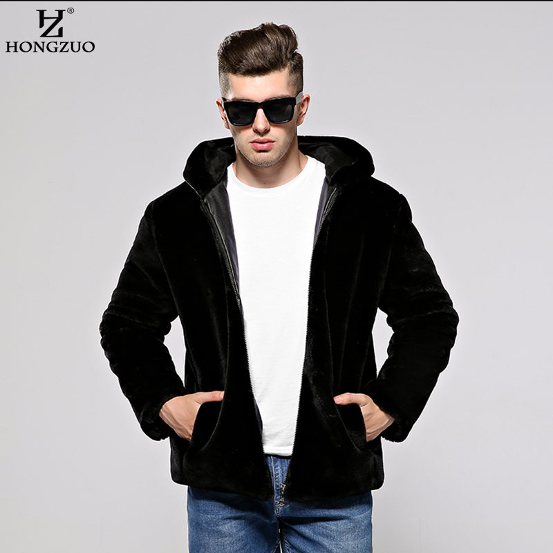 HONGZUO Men Artificial Fur Coat with Hooded 2017 Winter Plus Size - Men's Clothing