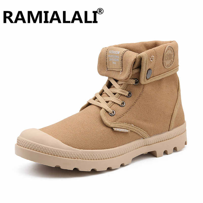 dff376d36616b5 Autumn Winter Men Canvas Boots Army Combat Style Fashion High-top Military  Ankle Boots Men's