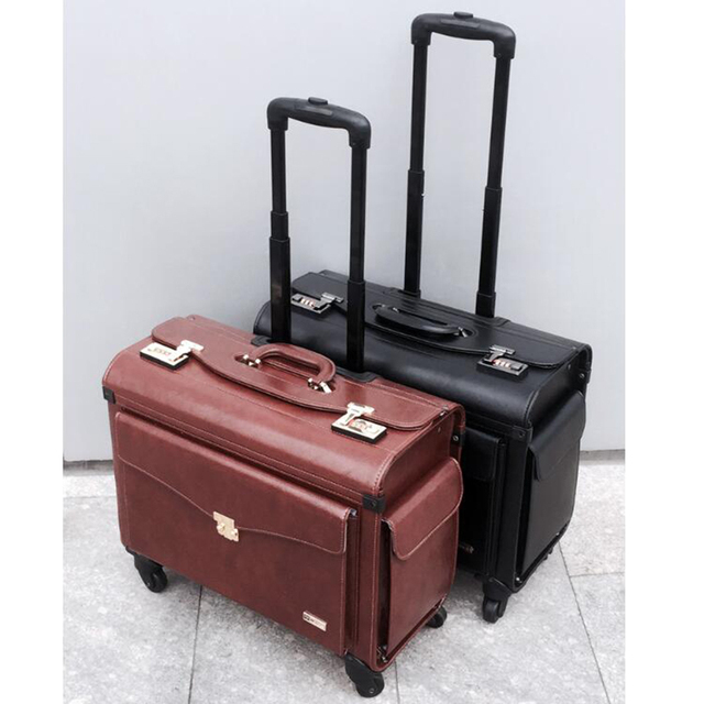 """CHENGZHI 19"""" inch black brown retro pilot hand luggage lawyer spinner cabin carry on trolley travel bag for business"""