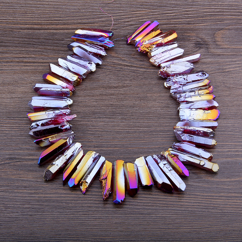Purple Rainbow Titanium Natural Crystal Quartz Top Drilled Point Stick Beads Charm Pendant Beads Jewelry Making Handmade Earring