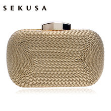 SEKUSA Fashion Women Messenger Bags Knitted Style Vintage Metal Day Clutches Small Purse Evening Bags For Wedding Party Bag(China)
