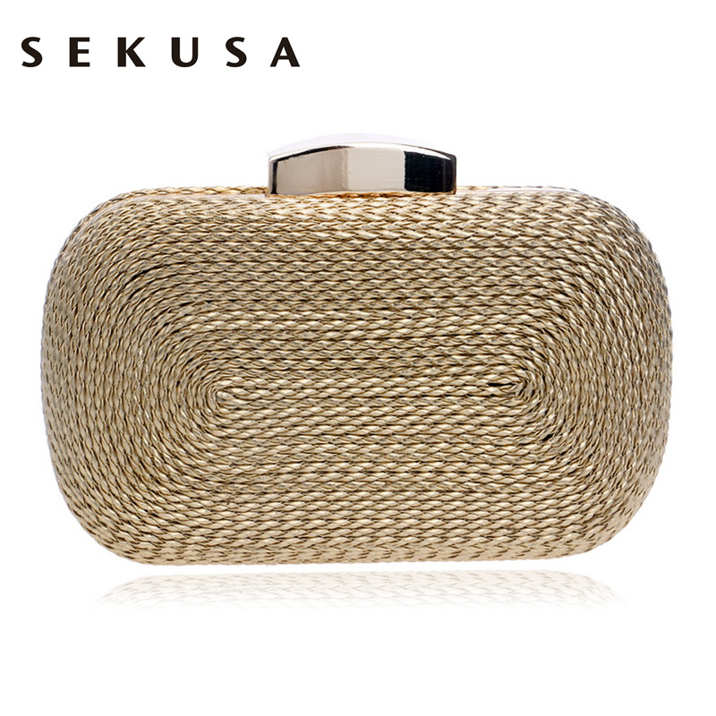 SEKUSA Fashion Women Messenger ჩანთები ნაქსოვი სტილი რთველი მეტალის დღის სამაჯურები პატარა ჩანთა საღამოს ტომრები საქორწილო წვეულებისთვის