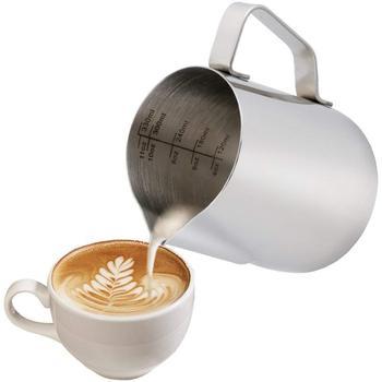 Süt sürahisi 350 Ml/12 Fl. oz, 304 paslanmaz çelik süt sürahi, süt Frothing sürahi yapmak için kahve Cappuccino