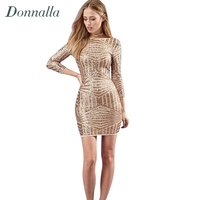 Women Gold Dress Long Sleeve Bodycon Dresses Sexy Bandage Party Dress Women Back Hollow Out Fashion
