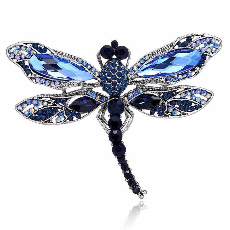 Fashion Kristal Vintage Dragonfly Bros untuk Wanita Serangga Besar Bros Pin Gaun Mantel Aksesoris Lucu Perhiasan Gifts2019