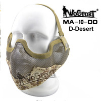 Tactical Airsoft Mask Strick Ear Protection Metal Steel Net Mesh Half Face Mask Paintball CS Game