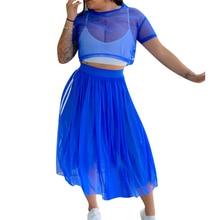 Adogirl Side Stripe Sheer Mesh Two Piece Set Dress Short Sleeve T Shirt Crop Top Pleated Midi Skirt Night Club Party Dresses