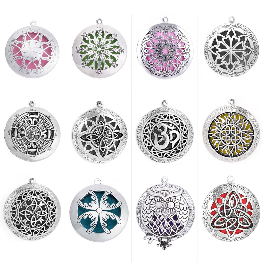 Hollow Photo Family Lotus Antique Vintage Aromatherapy Essential Oil Diffuser Locket Celtic Pendant For DIY Jewelry Necklace locket
