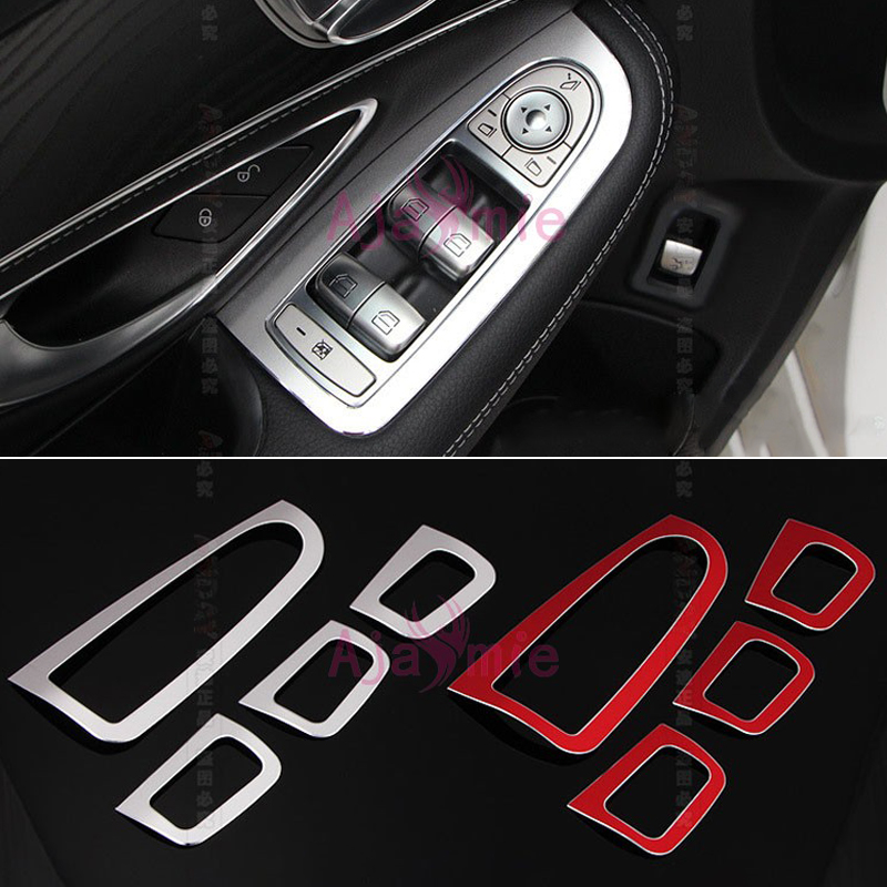 Accessories For <font><b>Mercedes</b></font> Benz W205 C Class C200 <font><b>C300</b></font> C180 GLC GLC260 2015 <font><b>2016</b></font> Window Glass Button Trim Cover Chrome Car Styling image
